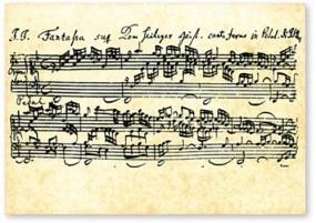 Postkarte Notenblatt Bach Fantasia