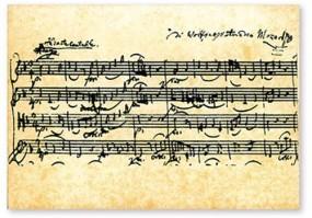 Postkarte Notenblatt Mozart Streichquartett