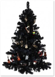Postkarte Christbaum schwarz